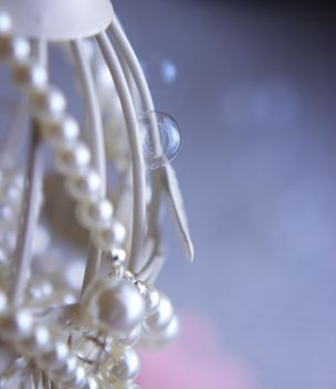 Close up of white bird cage decorated with pearls - image #341481 gratis