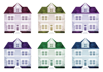 Watercolor Vector Houses - Free vector #341561