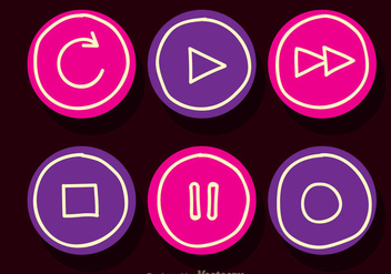 Media Player Pink And Purple Button - Free vector #341731