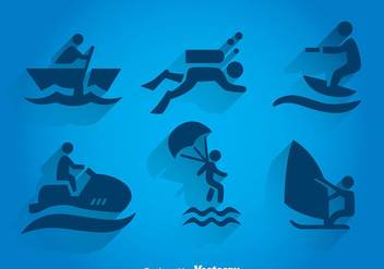 Water Sport Vlue Icons - Free vector #341951