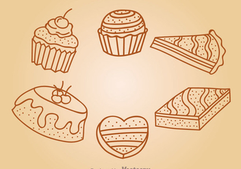 Chocolate Cake Outline Icons - vector gratuit #342291