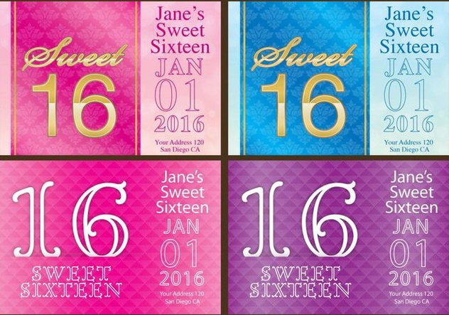 Sweet 16 Flyers - Free vector #342621