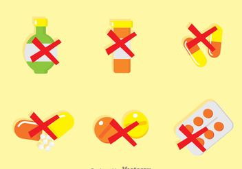No Drugs Flat Icons - vector gratuit(e) #342701