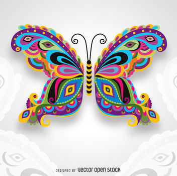 Creative Colorful Artistic butterfly for cards, congratulations, weddint invitations and more - Free vector #343261
