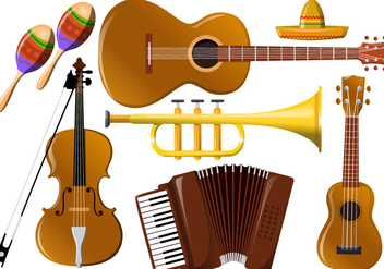 Mariachi Music Instrument Vectors - Free vector #343691