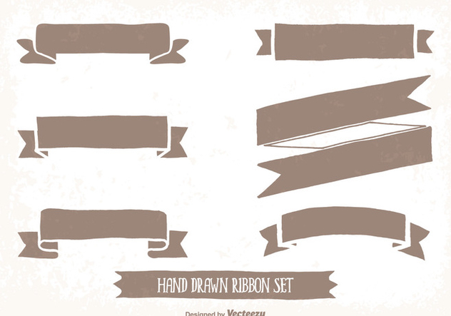 Hand Drawn Style Ribbon Set - Free vector #344681