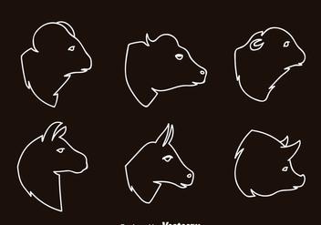Mammals Head Outline Icons - Kostenloses vector #344831