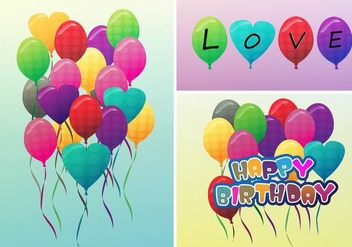 Birthday Balloon and Love Balloons Vectors - vector gratuit(e) #344841
