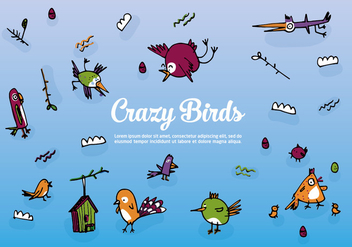 Free Set of Hand Drawn Birds Vector Background - Free vector #345281