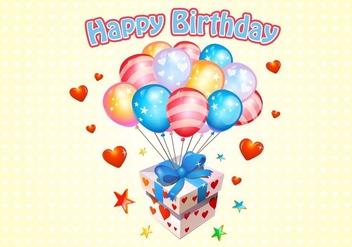 Happy Birthday Balloons Free Vector - Kostenloses vector #345351
