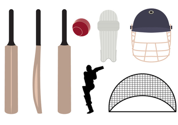 Set of Cricket Symbols and Objects in Vector - Free vector #345401