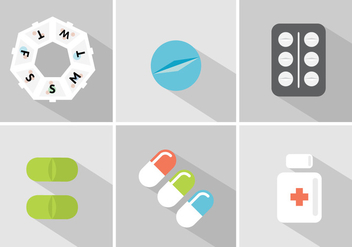 Vector Set of Pill Boxes and Pills - vector gratuit #345431
