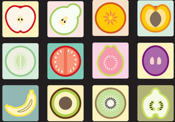 Fruit And Vegetable Icons - vector gratuit #345771
