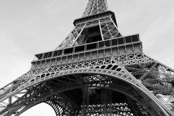 View from below on Eiffel Tower, Black and White - Free image #345901
