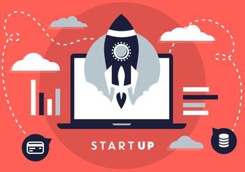 Free Flat Design Business Startup with Rocket Icon - Kostenloses vector #346031