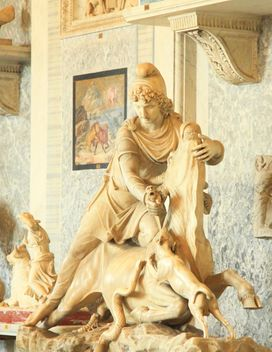 Sculpture of rider with snake on horse in museum, Vatican, Italy - image #346181 gratis