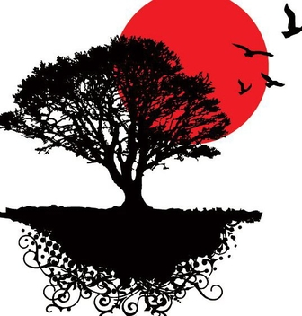 Sunrise Tree Landscape Birds - Free vector #346491