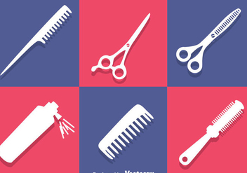 Barber Tools White Icons - Free vector #346671