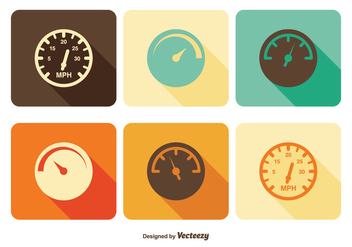 Tachometer Icon Set - vector gratuit #347461