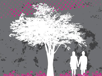 Couple under Tree Silhouette - vector gratuit #347661