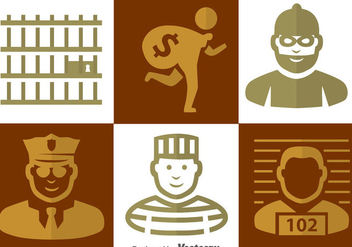 Police And Criminal Icons - vector gratuit #348201