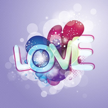 Love Message Glowing Valentine Design - vector gratuit #348901