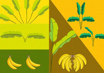 Banana Tree Vectors - Free vector #348971