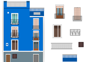 Vector Blue Building in Spain - Free vector #349011