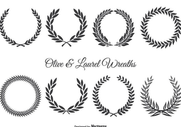 Olive and Laurel Wreath Set - Free vector #349071