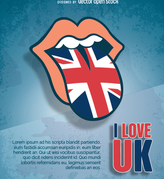 Rolling Stone tongue with UK flag - бесплатный vector #349231