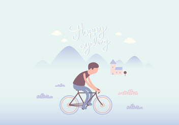 Cyclist illustration wallpaper - vector gratuit #349301