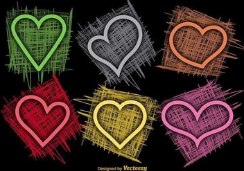 Colorful Sketchy Hearts Vectors - Free vector #349871