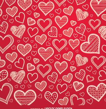 Red hearts hand drawn background - vector gratuit #349911