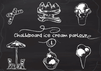 Free Hand Drawn Ice Cream set on Chalkboard Vector Background - Free vector #350101