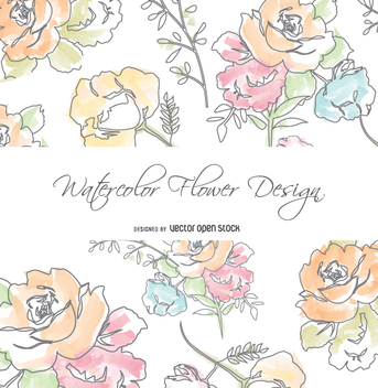 Watercolor flowers greeting card - Free vector #351171
