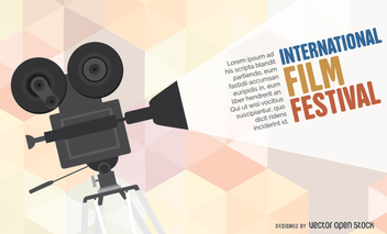 Film festival camera poster template - Free vector #351181