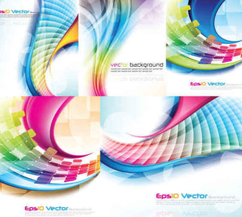 Creative Waves Lines Background Set - vector gratuit(e) #351291