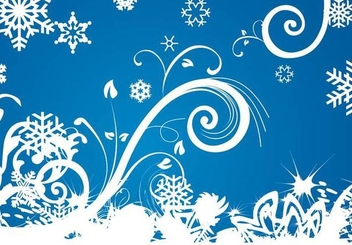 Winter Swirls Snowflakes Background - Free vector #351321