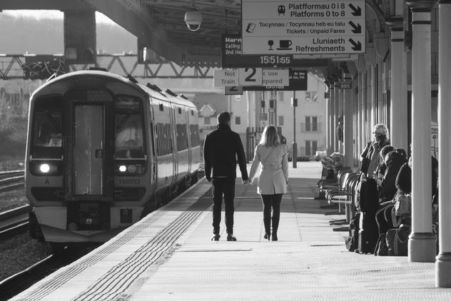 Walking Together: Cardiff Cental station, Wales - Free image #351381