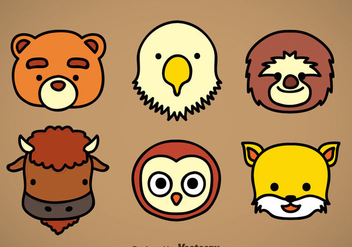 Cute Animal Head Icons Vector Sets - vector #351911 gratis