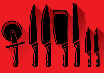 Knife Set Black Icons Vector - Free vector #352091