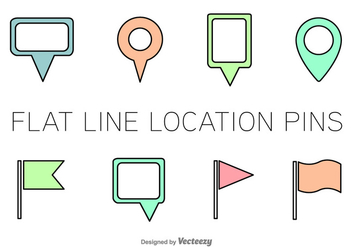 Line Location Pin Vector Icons - Kostenloses vector #352191
