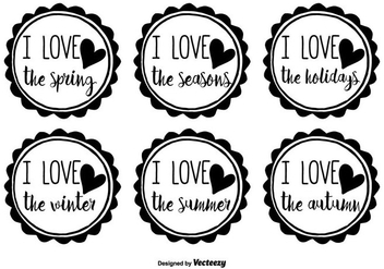 Hand Drawn Seasons Badge Vector Set - Free vector #352371