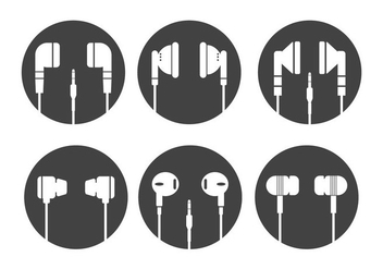 Ear Buds Vector Silhouettes - Free vector #352941