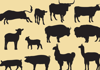Cattle Silhouette Vectors - Free vector #353121
