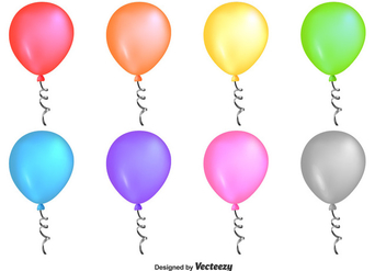 Shiny Colourful Vector Balloons - Free vector #353181
