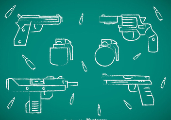 Guns Collection Chalk Draw Icons - Free vector #353351