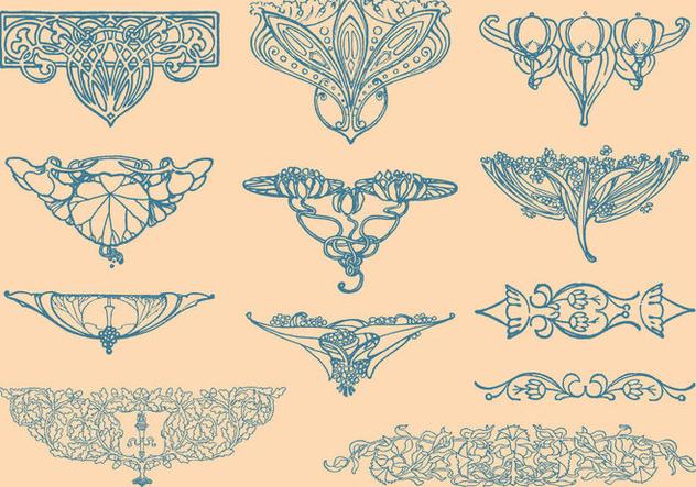 Art Nouveau Vector Elements - Free vector #353551