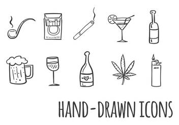 Smoking and Drinking Vector Icons - vector gratuit #353591