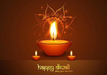 Oil Lit Lamps In Front Of Rangoli - Free vector #354431